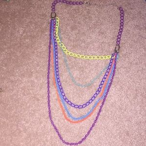 Layered long necklace.